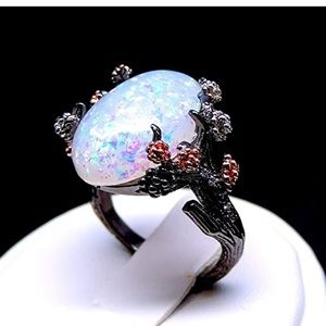 Jewelry - Tree Branch Flower Simulated Opal Ring